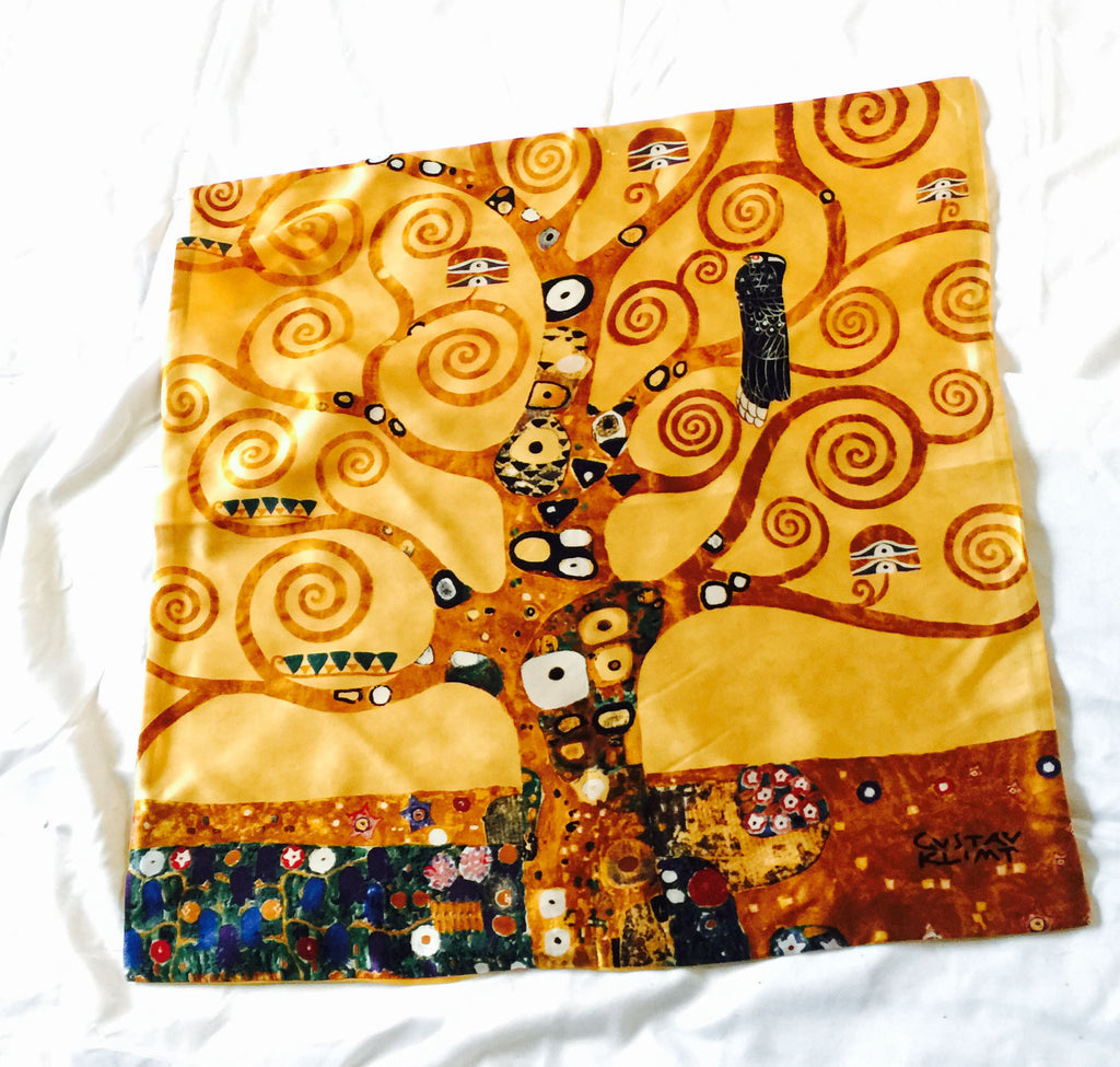 Gorgeous silk Klimt pillow of a tree of life