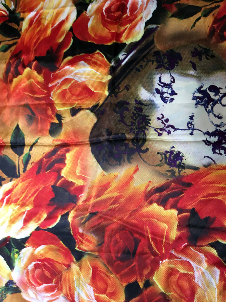 Long lush floral silk scarf floral motif and calligraphy pattern