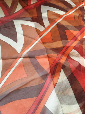 Silk Chiffon Long Scarf Geometric Patters Orange and Brown Tones - Stop Making Senz a Maker Studio