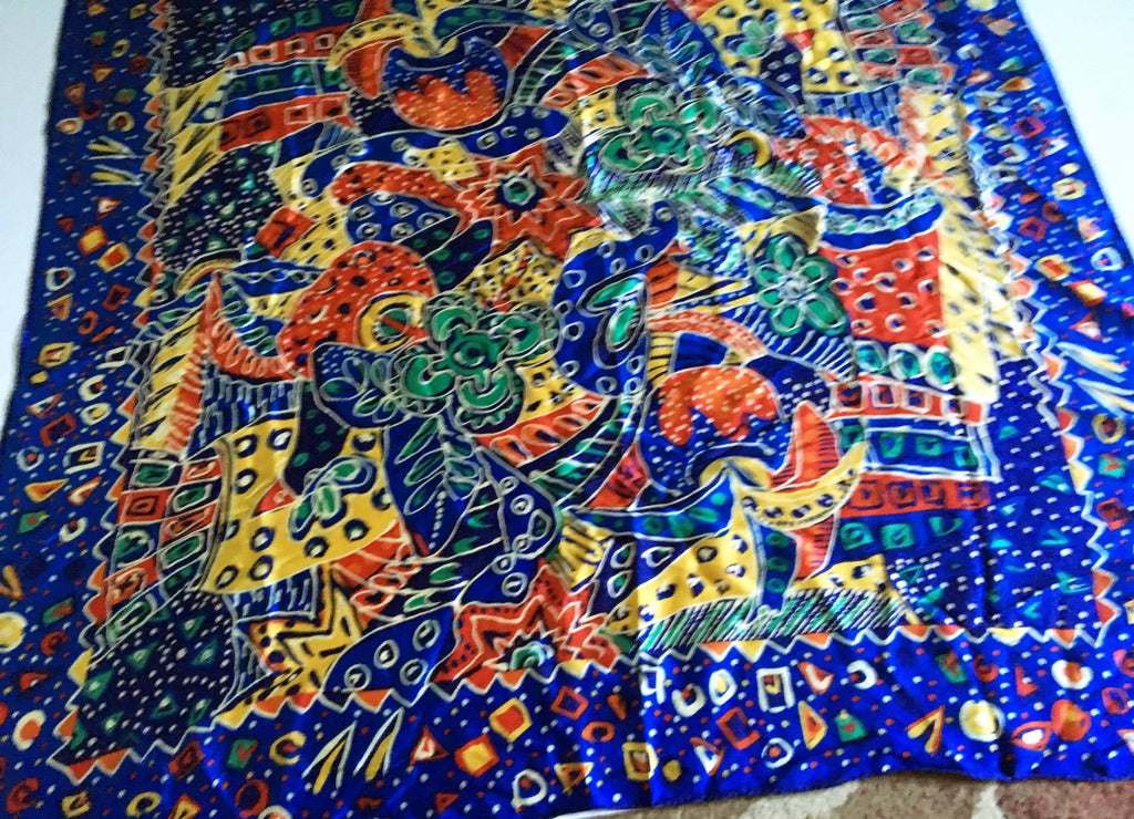 Silk sateen scarf riotous blue and all other colors