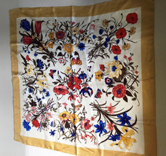 Gold explosion of flowers silk scarf