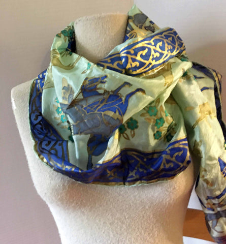 Green, blue, and gold silk scarves with Ottoman motifs - Stop Making Senz a Maker Studio