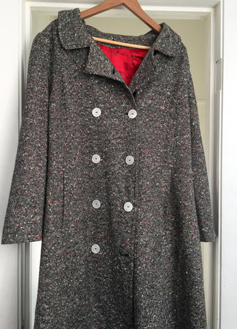 SALE! Long tweedy winter coat medium weight good for spring or fall - Stop Making Senz a Maker Studio
