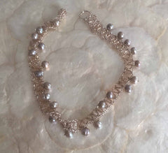 Beige beaded choker and beige faux pearles