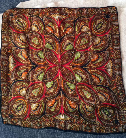 Brown and green paisley scarf with earthy colors - Stop Making Senz a Maker Studio