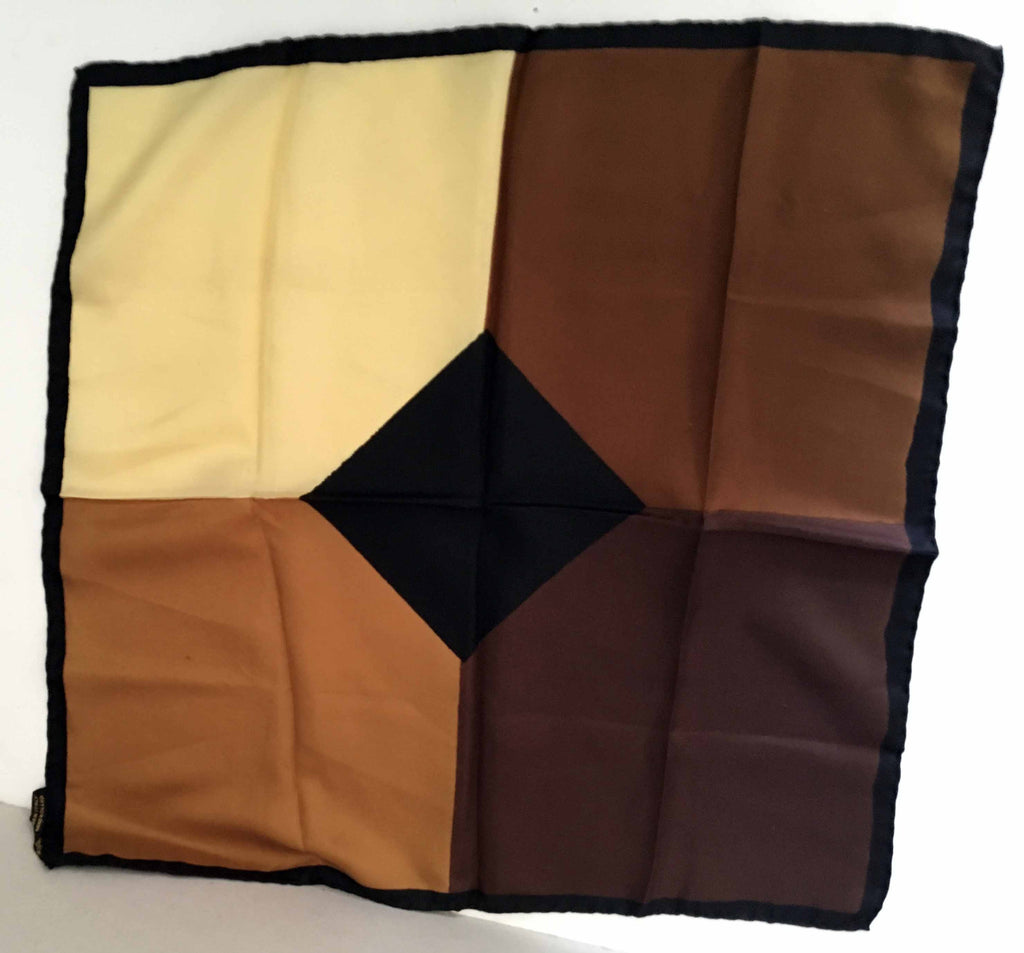Brown and cream colored pocket square