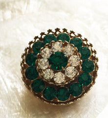 Standout vivid green and clear rhinestone brooch