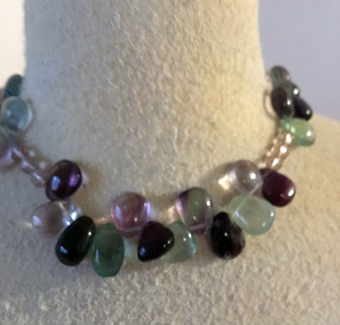 Great and purple glass necklace with teardrop beads