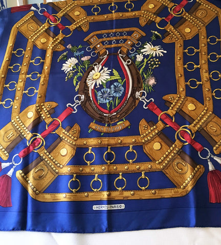 Authentic Hermes Scarf Carre 90  Aux Champs  Royal Blue Gold - Stop Making Senz a Maker Studio
