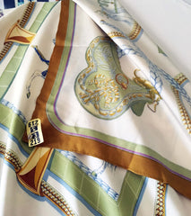 Hermes Grand Apparat classic vintage mustard border with blue and cream accents
