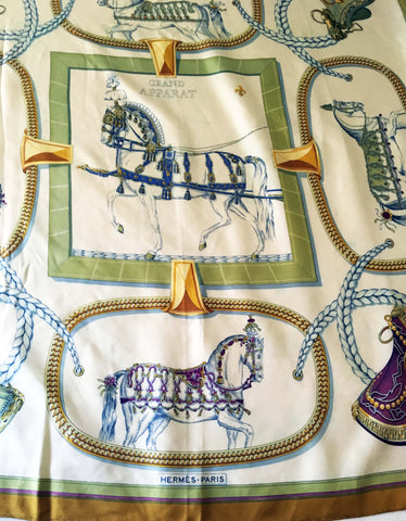 Hermes Grand Apparat classic vintage mustard border with blue and cream accents - Stop Making Senz a Maker Studio