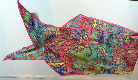 Long Paisley scarf pink and yellow motif - Stop Making Senz a Maker Studio