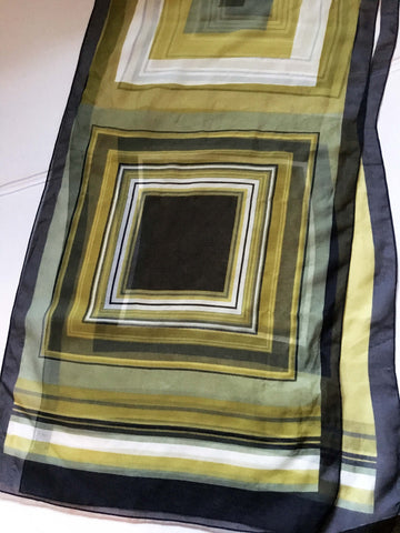 Long Silk Scarf Green and Black Geometric Shapes for Strong Women - Stop Making Senz a Maker Studio