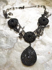 Large rhinestone necklace teardrop shapes in 2 sizes