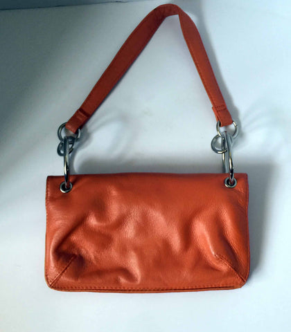 Orange leather purse with a feel like Courreges - Stop Making Senz a Maker Studio