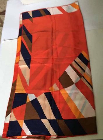 Silk scarf orange geometric mod look - Stop Making Senz a Maker Studio