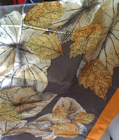 Large silk sateen scarf orange border and detailed leaf pattern - Stop Making Senz a Maker Studio