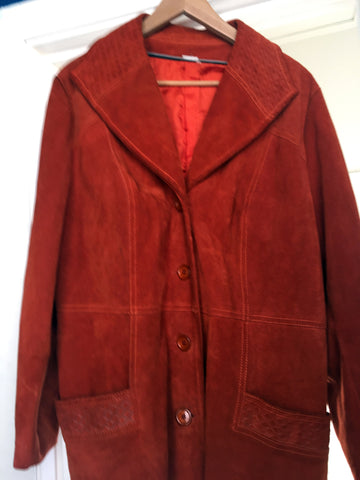 SALE !!!! Great orange suede coat with lots of detailing great condition - Stop Making Senz a Maker Studio