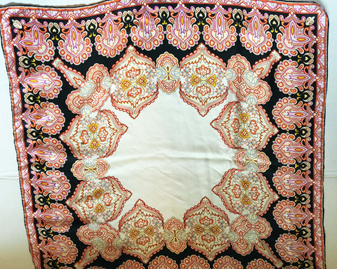 Silk Paisley Scarf Pink, Black, and Cream Tones - Stop Making Senz a Maker Studio