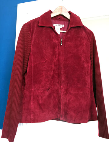 SALE!   Red Suede Jacket with Knitted Arms Excellent Condition - Stop Making Senz a Maker Studio