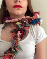 Versatile crocheted necklace or scarf felting and hand spun sari silk