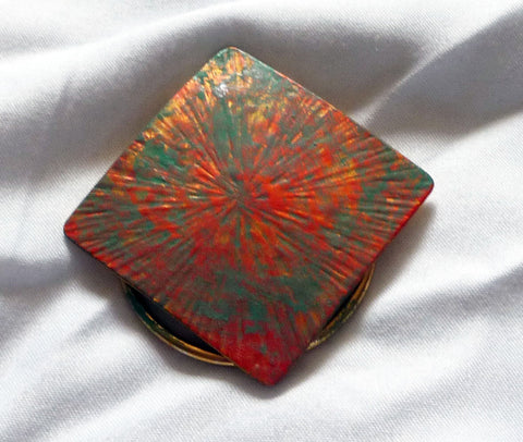 Upcycled square scarf pin, copper and verdigris patina, starburst pattern