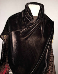 Triangular velvet scarf with extra long fringe, brown