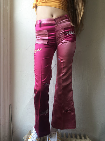 Pink/Fuschia All Over Rock n Roll Satin 70's Flares