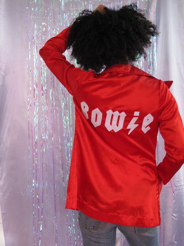Red 70's Red Satin Bowie Blazer