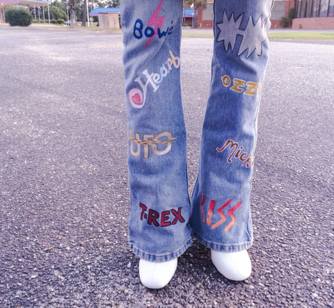 Hand Painted Band Levi Flares
