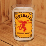 Scented Soy Candle made with an Upcycled Fireball Cinnamon Whiskey Bottle