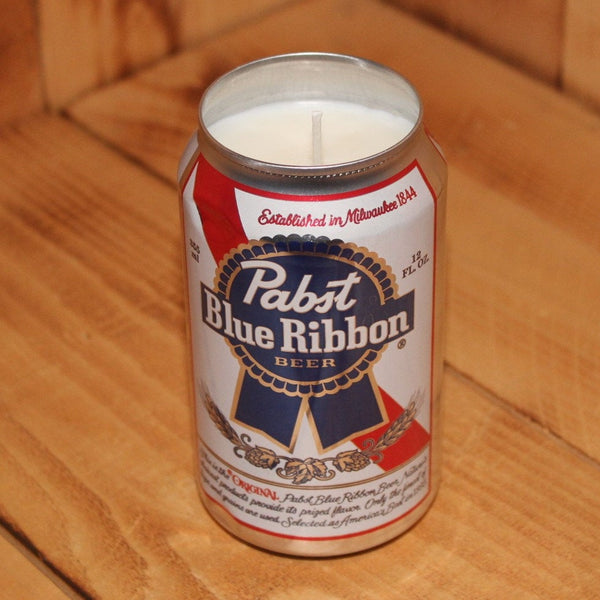 Hand Poured Soy Candle in Handmade Upcycled Pabst Blue Ribbon Beer Can