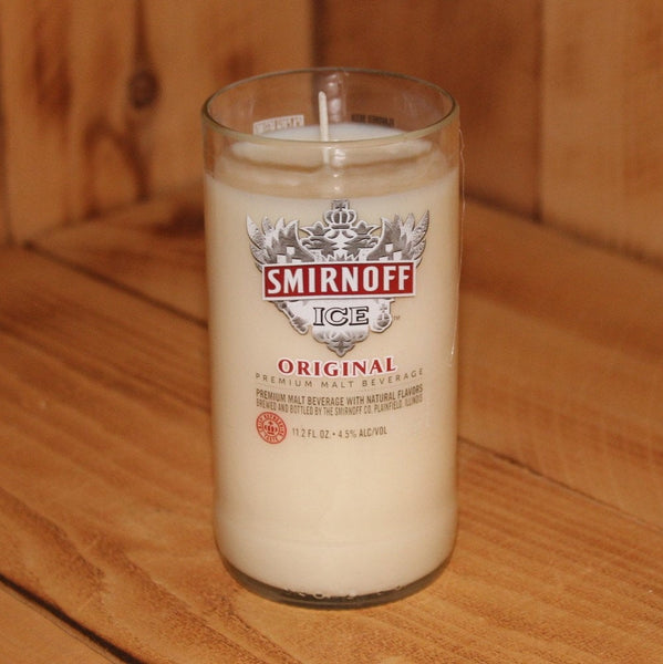 Hand Poured Soy Candle in Handmade Upcycled Smirnoff Ice Glass made from a 12oz bottle