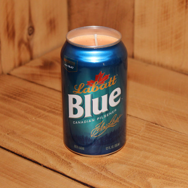 Hand Poured Soy Candle in Handmade Upcycled Labatt Blue Beer Can