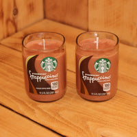 Pair of 6oz  Salted Caramel Scented Soy Candles made from Upcycled Starbucks Frappuccino bottles