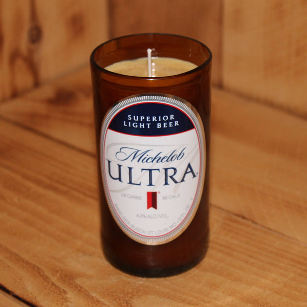 Hand Poured Soy Candle in Handmade Upcycled Michelob Ultra beer bottle glass made from a 12oz bottle