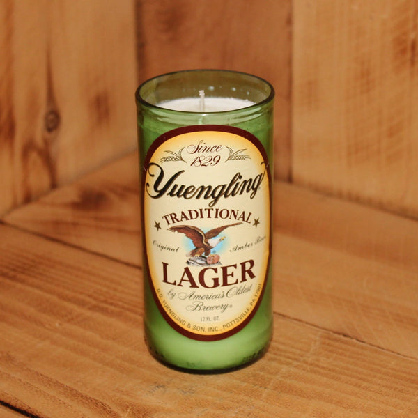 Hand Poured Soy Candle in Handmade Upcycled Yuengling Lager beer bottle glass made from a 12oz bottle