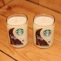Pair of 6oz French Vanilla Scented Soy Candles made from Upcycled Starbucks Frappuccino bottles