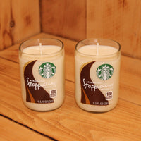 Pair of 6oz French Vanilla Mocha Scented Soy Candles made from Upcycled Starbucks Frappuccino bottles