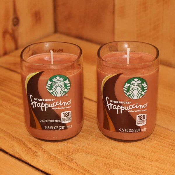 Pair of 6oz  Mocha Scented Soy Candles made from Upcycled Starbucks Frappuccino bottles