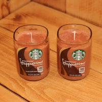 Pair of 6oz  Hazelnut Cappuccino Scented Soy Candles made from Upcycled Starbucks Frappuccino bottles