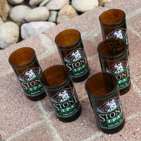 Stone IPA Six Pack 8 ounce glasses made from repurposed bottles
