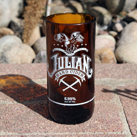 Julian Hard Cider 16 oz beer glass made from a repurposed bottle