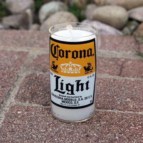 Corona Light Candle made from a repurposed beer bottle
