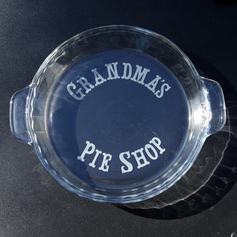 Custom Pie Plate Personalized with Etching
