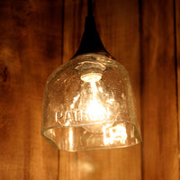 Patron Tequila Hanging Pendant Lamp made from an upcycled bottle