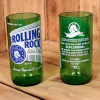 Rolling Rock 8 ounce novelty glasses made from beer bottles