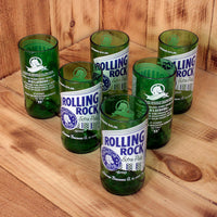 Six Pack Rolling Rock 8 ounce glasses made from upcycled beer bottles