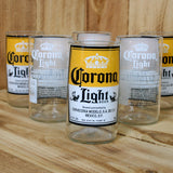 Corona Light Six Pack 8 ounce juice glasses made from beer bottles