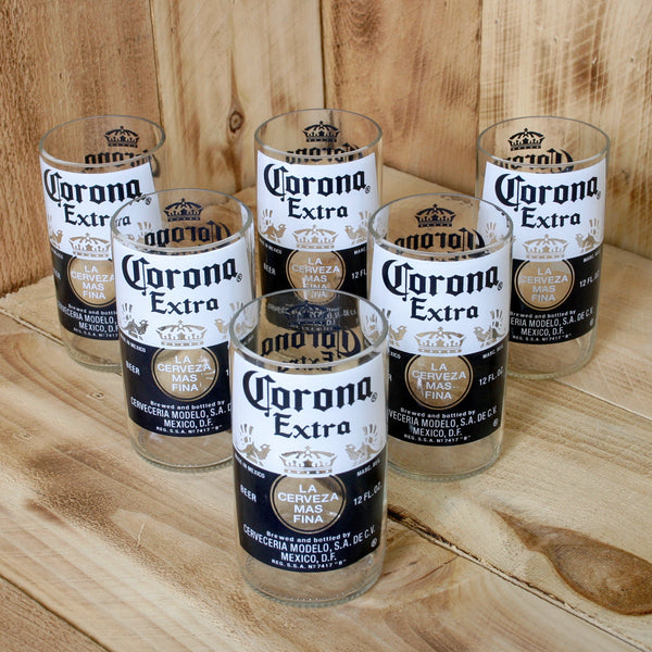 Six Pack Corona Extra 8 ounce juice drinking glasses made from repurposed beer bottles